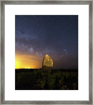 Milky Way Over Standing Stone Framed Print by Laurent Laveder