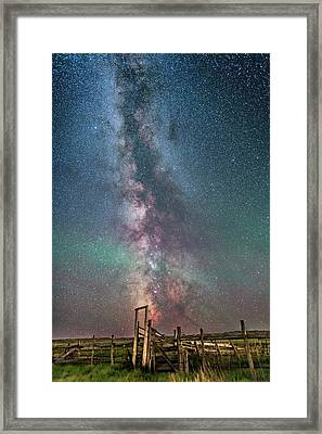 Milky Way Over The 76 Ranch Corral Framed Print by Alan Dyer