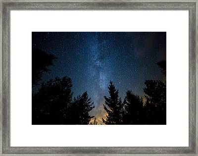 Milky Way Over The Forest Framed Print by Teemu Tretjakov