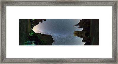 Milky Way Over Town Framed Print