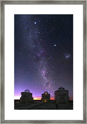 Milky Way Over Vlt Telescopes Framed Print