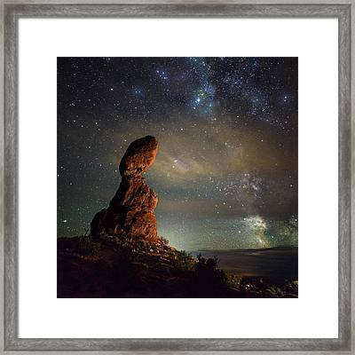 Milky Way Pull At Balanced Rock Framed Print by Mike Berenson