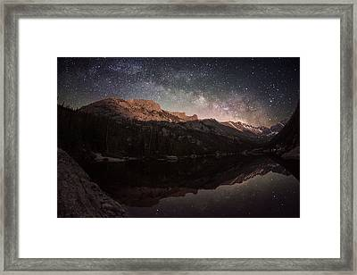 Milky Way Rising Over Longs Peak Framed Print by Mike Berenson