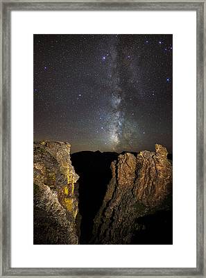 Milky Way Skies Over Rock Cut Framed Print by Mike Berenson