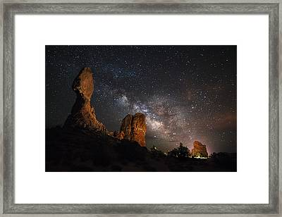 Milky Way Suspension At Balanced Rock Framed Print by Mike Berenson