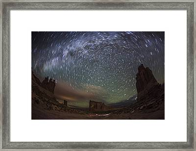 Milky Way Swirls Over Arches Park Avenue Framed Print by Mike Berenson