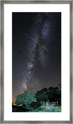 Milky Way Vertical Panorama At Enchanted Rock State Natural Area - Texas Hill Country Framed Print by Silvio Ligutti