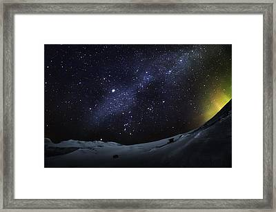 Milky Way With Aurora Borealis Or Framed Print