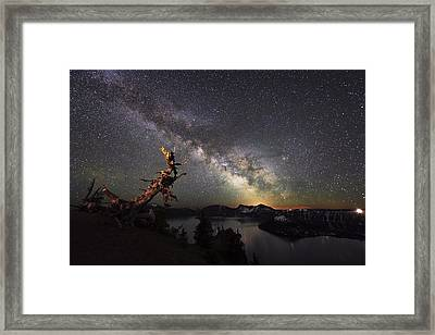Milkyway In Crater Lake Framed Print