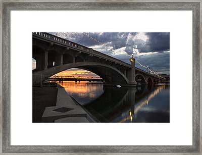 Mill Avenue Bridge Reflections Sunset Framed Print by Dave Dilli