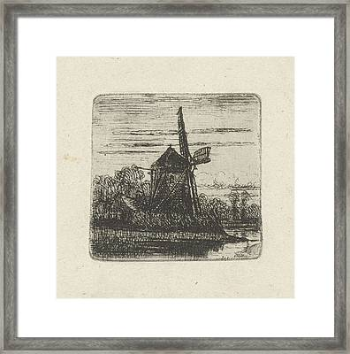 Mill On A River, Jan Van Lokhorst Framed Print