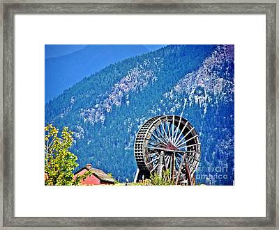 Mill Wheel In The Mountains Framed Print