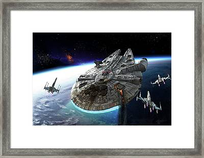 Millenium Falcon Being Escorted Framed Print