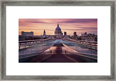 Millennium Bridge Leading Towards St. Paul's Church Framed Print
