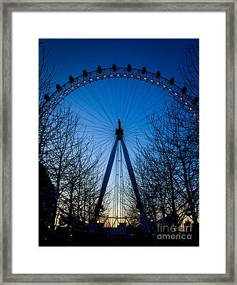 Framed Print featuring the photograph Millennium Eye London At Twilight by Peta Thames