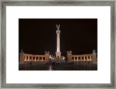 Millennium Monument Budapest Night Framed Print