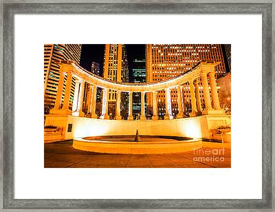 Millennium Monument Fountain In Chicago Framed Print