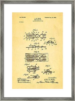 Mills Hook And Eye Patent Art 1900 Framed Print