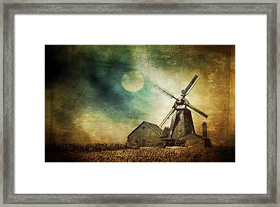 Mill In The Night Framed Print by Heike Hultsch
