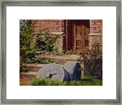 Millstones And Roses Framed Print