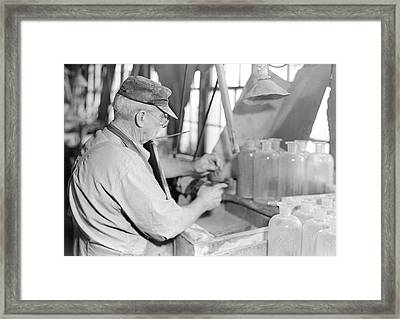 Millville, New Jersey - Glass Bottles. Stopper-grinder At T Framed Print by Litz Collection