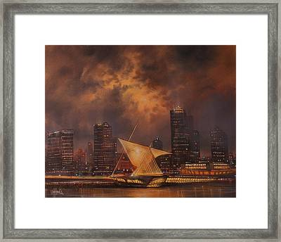 Milwaukee Art Museum And Skyline Framed Print by Tom Shropshire