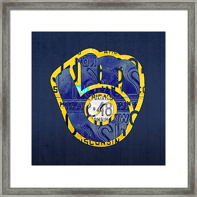 Milwaukee Brewers Vintage Baseball Team Logo Recycled Wisconsin License Plate Art Framed Print