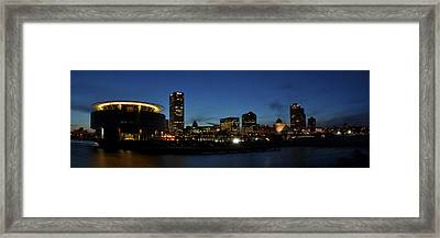 Framed Print featuring the photograph Milwaukee City Scape Panorama by Deborah Klubertanz