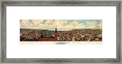Milwaukee Panorama 1898 Framed Print by Mountain Dreams