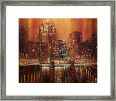 Milwaukee River Downtown Framed Print by Tom Shropshire