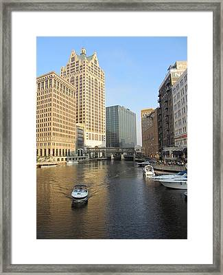 Milwaukee River Theater District 3 Framed Print