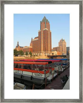 Milwaukee River Theater District 5 Framed Print by Anita Burgermeister