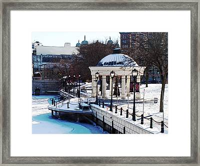 Milwaukee River Walk 3 - Pere Marquette Park - Winter 2013 Framed Print by David Blank