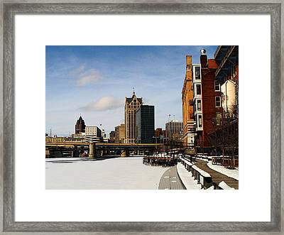 Milwaukee Riverwalk Framed Print by David Blank