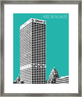 Milwaukee Skyline 1 - Teal Framed Print