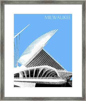 Milwaukee Skyline Art Museum - Light Blue Framed Print