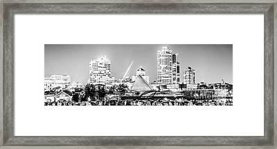 Milwaukee Skyline At Night Panorama In Black And White Framed Print by Paul Velgos
