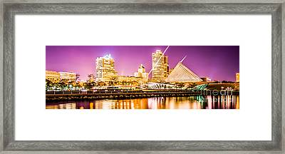 Milwaukee Skyline At Night Panoramic Picture Framed Print