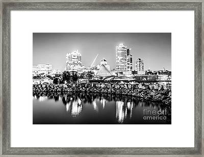 Milwaukee Skyline At Night Photo In Black And White Framed Print by Paul Velgos