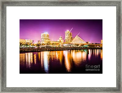 Milwaukee Skyline At Night Picture In Purple Framed Print