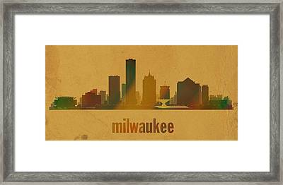 Milwaukee Wisconsin City Skyline Watercolor On Parchment Framed Print