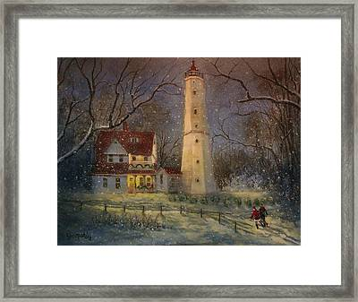 Milwaukee's North Point Lighthouse Framed Print by Tom Shropshire