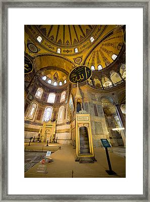 Mimbar And Mihrab In The Hagia Sophia Framed Print