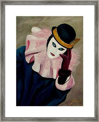 Mime With Thoughts Framed Print by Gino Didio