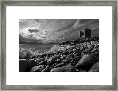 Minard Castle On Storm Beach -black And White Framed Print by DM Photography- Dan Mongosa