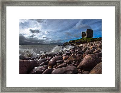Minard Castle On Storm Beach Framed Print by DM Photography- Dan Mongosa