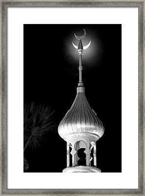 Minaret And Moon Over Tampa Framed Print by Daniel Woodrum