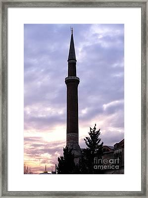 Minaret At Night Framed Print