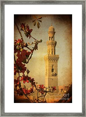 Framed Print featuring the photograph Minaret In Old Cairo Capital Of Egypt by Mohamed Elkhamisy