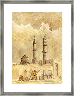 Minaret Of Al Azhar Mosque Framed Print by Juan  Bosco